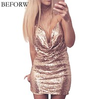 BEFORW Sequin Dress Womens Sexy Dresses Party Night Club Dress Metal Diamond Chain Sling Clothing Gold Silver Super Sexy Dress