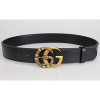 GUCCI 2 G Snake pattern Woman Fashion Smooth Buckle Belt Leather Belt
