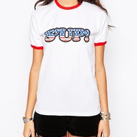 Rokoko Fitted Ringer T-Shirt With Contrast Rib & 70S America Sup Print