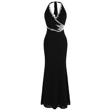 Halter Beading Black Evening Dresses Long Formal Party Gown