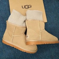 UGG Fashion Plush leather boots boots in tube Boots Brown G-1