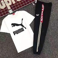 PUMA Popular Women Men Casual Print Short Sleeve Top Pants Trousers Set Two-Piece Sportswear White