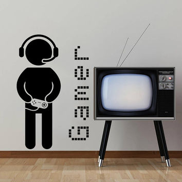Wall Decal Vinyl Sticker Decals Art Home Decor Design Murals Game Controllers Gamer Gaming Video Game Boy Room Nursery Bedroom Dorm AN759
