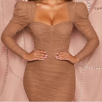 Explosive hot sale women's long-sleeved sexy mesh double-layer breast wrap dress