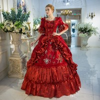 New Arrival Red Rococo Baroque Marie Antoinette Ball Gown Dress 18th Century Renaissance Historical Period Dress For Women
