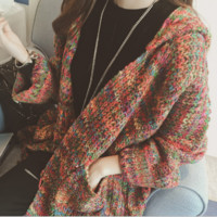 In the long section sweater coat hooded knitted cardigan woman thickening