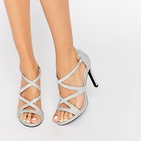 New Look Silver Glitter Heeled Sandals
