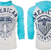 Licensed Official AMERICAN FIGHTER Men Hoodie Sweat Shirt CEDAR CREST Biker WHITE BLUE Gym UFC $65