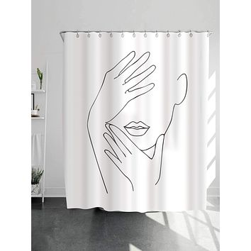 1pc Figure Print Shower Curtain With 12Hooks