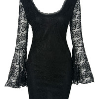 Black Sheer Flare Sleeve Chain Back Detail Bodycon Lace Dress