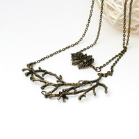 DoreenBeads Handmade autumn Vintage Leaf Branch Necklace long woman antique bronze chain charm necklace Jewelry Christmas gift
