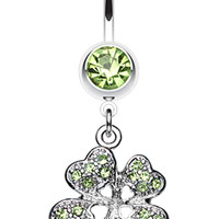 Classic Four Leaf Clover Sparkle Belly Button Ring