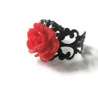 Ring Red Rose Black  filigree Flower adjustable Jewellery Gothic  Hand Made by Futti Tutti Bead candy
