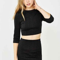 Silence + Noise Cable-Knit Ponte Mini Skirt