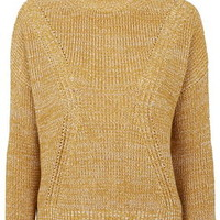 Ribbed Detail Funnel Neck Sweater - Mustard