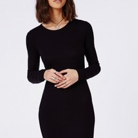 Missguided - Long Sleeve Ribbed Bodycon Dress Black