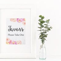 Wedding favors sign - Favors table sign - Shower favor sign - Printable favor sign - Instant download - Floral favor table sign