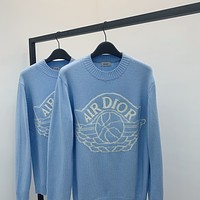 Dior embroidered logo crew neck pullover sweater crew neck sweater