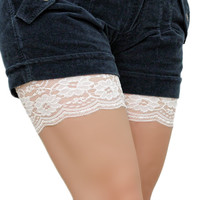 by (VeroLace) Anti Chafing Thigh Bands, lace cuff, accessories, legs lace bands chub rub underware antichafing inner thighs skin protection