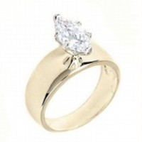 Marquise Cut Solitaire Engagement Ring 2.7 CT Cubic Zirconia 14K Yellow Gold EP