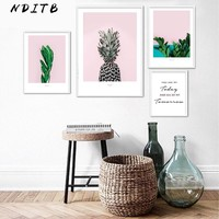 Pineapple Leaf Scandinavian Poster and Print Wall Art Canvas Painting Decorative Picture Nordic Style Minimalist Home Decoration