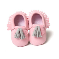 0-18M | Boys & Girls PU Suede Leather Moccasins | Tassel Bow Shoes
