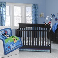 Disney Baby Mickey Mouse Best Friends Blue 3 Piece Crib Bedding Set Comforter Fitted Crib Sheet & Dust Ruffle