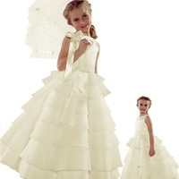 ST244 Flower Girl Wedding Layers Sleeveless Dress Baby to Teen (10, Ivory)