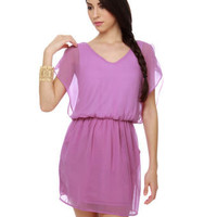 Pretty Purple Dress - Sheer Dress - Flutter Sleeve Dress - $41.00