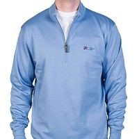 Longshanks Cotton 1/4 Zip Sweater in Silverlake Blue by Country Club Prep