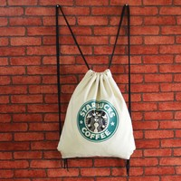 "Casual Hot Deal Stylish On Sale""Starbucks"" Back To School Comfort Canvas With Pocket Bags Backpack [8267814151]"