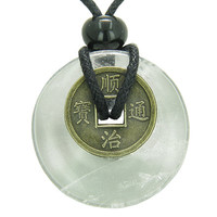 Lucky Coin Evil Eye Protection Powers Amulet Crystal Quartz 30mm Donut Pendant Necklace