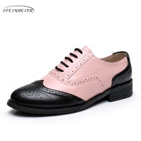 Genuine leather big woman US size 11 designer vintage flat shoes round toe handmade pink brown oxford shoes for women with fur