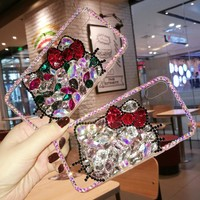Rhinestone Hello Kitty Phone Case Cover For iPhone X 8 7 6 6S Plus 5S 5C Diamond Phone Skins Protective Shell