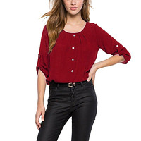 Women Elegant Blouse Button Decor Round Neck Chiffon Office Ladies OL Spring Tops Casual Clothing XXL
