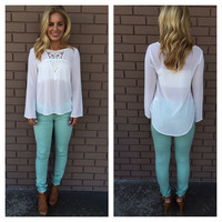 White Willow Long Sleeve Blouse