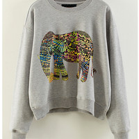Multicolor Elephant Print Ribbed Cuff Sleeve Cropped Sweater