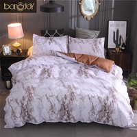 Cool Bonenjoy Queen Size Bed Set Brown Marble Printed Luxury Bedding Set King Size Bed Linen Single Duvet Cover Sets with PillowcaseAT_93_12