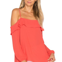 1. STATE Cold Shoulder with Ruffle Top in Poppy Petal