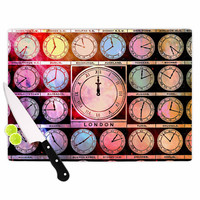 """Suzanne Carter """"Time Space"""" Rainbow Black Cutting Board"""
