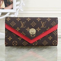 Tagre™ onetow One-nice? LV Louis Vuitton Women Leather Shopping Fashion Wallet Purse Red I