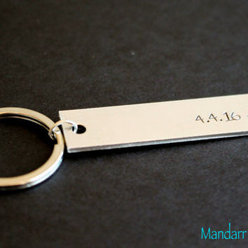 Custom Date Keychain, Compass Stamp, Fully Personalized Anniversary, Hand Stamped Aluminum Key Chain