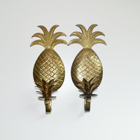 Vintage Brass Pineapple Candle holders Pineapple Wall Sconce Pineapple Candle Holders