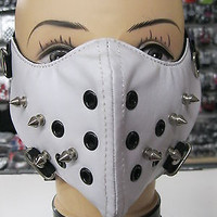 Spike Spiked White Mask Motorcycle Goth Punk Bondage PaintBall Gothic Metal-New!