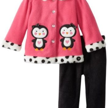 Young Hearts Baby Girls' 2 Piece Polka Dot Bird Jacket And Pant, Pink, 24 Months