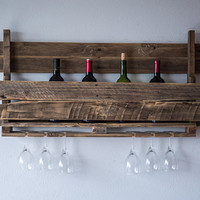 Rustic wine rack, Rustic Decor, Farmhouse Decor, wine Decor, Gallery Wall Decor, wine glasses and wine bottle holder, pallet wood wine rack
