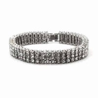 NEW QUALITY 0.5 CARAT WHITE GOLD PLATED 3 ROWS CUBIC STONE BRACELET SSB003S