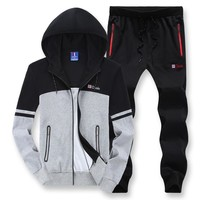 Use For 135kg Plus Size Loose Men Hoodies Sets Sport Suit Windproof Warm Workout Gym Clothing 7XL 8XL Running Fitness Tracksuit
