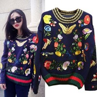 PEAPUF3 Gucci' Women Flower Head Embroidery Knit O-Neck Long Sleeve Sweater
