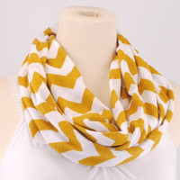 Mustard Yellow White Chevron Infinity Scarf - Zig Zag Scarf - Circle Scarf - Loop Scarf - by Creations by Terra